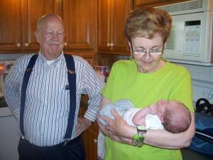 Grandma & Grandpa bring us some dinner & visit.