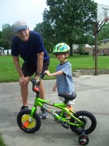 Grandpa & Grandma Warwick get Xander a new bike.