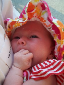 Clara in her hat.  She did awesome on this trip.  She was 3 1/2 weeks old.