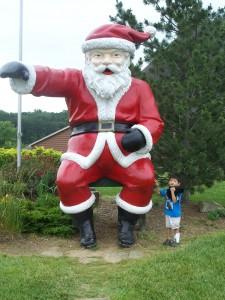 Xander outside of Santa`s Lodge.