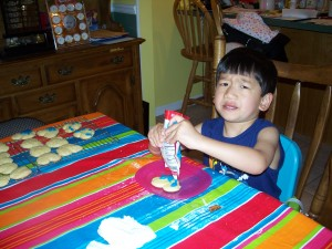 Xander makes Micky cookies