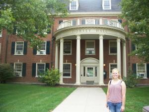 Ariel in front of her dorm